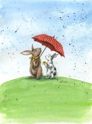 Verkauft: Regenwetter, Aquarell, Illustration
