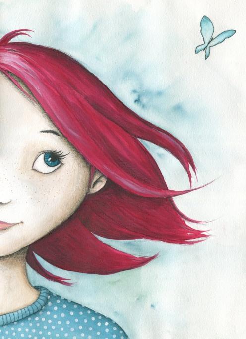 Verkauft: Serie Mädchen mit Schmetterlingen, Aquarell - Illustration