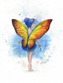 Verkauft: Schmetterlingfee - Aquarell, Illustration