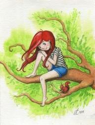 Verkauft: Zwei auf dem Baum - Aquarell - Illustration