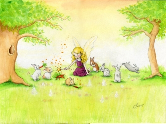 Verkauft: Hasenfee - Aquarell, Illustration