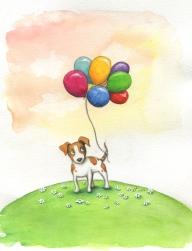 Verkauft: Hund mit Luftballons, Aquarell - Illustration