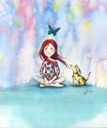 Verkauft: Mädchen mit Hund - Aquarell, Illustration